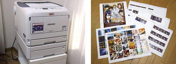放置在桌子上的COREFIDO C831dn(图左),纸张、耗材都已准备妥当。原来是放A4开打印机的桌子,没想到COREFIDO C831dn也能放得下。因为该机型可以轻松地进行A3彩打,所以像这样一页纸上排有很多图像的材料既可以做到一次性一览无余,又能非常方便地对细节部分进行观察确认。(图右)