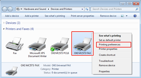 right click the oki mc573 fax icon and then select printing preferences