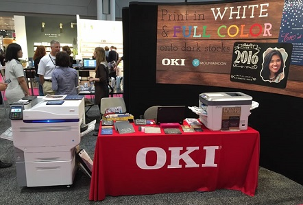 OKI Data Americas demonstrated the groundbreaking white and vivid color-on-color printing